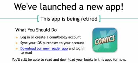 Comixology stops in-app purchases on iOS. Comics readers unhappy.